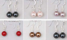 Women's Multicolor 8mm Natural South Sea Shell Pearl Earrings
