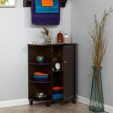 Elegant Home Bathroom Floor Cabinet Storage Door with Shelves, Espresso New