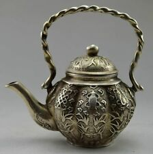 Old Chinese Handwork Cupronickel Carved Flower Fish Tea Pot