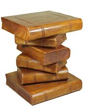 "Medium 16"" Wooden Stacked Book Side Table / Stool / Lamp Plant Stand. Brown Wax"