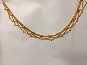 DOUBLE SIDED NEW 22CT GOLD PLATED INDIAN PAK PAIR OF ANKLET PAYAL GOLD CHAIN UK
