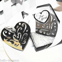 5PC Stainless Steel Hollow Out Heart Bookmark Silver Tone Present Gift