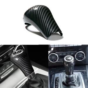 For Mercedes Benz W212 204 Gear Shift Lever Knob Cover Carbon Fiber Texture Trim