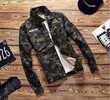 Mens VINTAGE Camo Jean Jacket Men Coat Outwear Denim Jean Jacket UK size XS-2XL