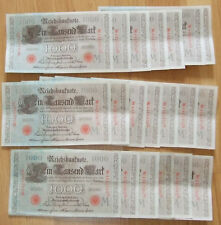 Germany 1000 Marks 1910 – 20 notes in serial number run Nr4423361G to Nr4423380G