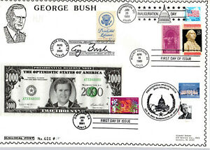 GEORGE BUSH INAGURATION, WHITE HOUSE GEORGE WASHINGTON PLUS+! HIDEAKI NAKANO FDC
