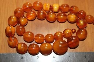 ANTIQUE GENUINE BALTIC BUTTERSCOTCH AMBER NECKLACE 83.1 grams!
