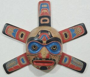 LARGE CARVED FIRST NATION STYLE SUN PLAQUE w/ RAYS ~ PACIFIC NORTHWEST STYLE