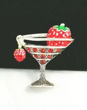 (w) Strawberry Fruit Charm Bar Cocktail Martini Glass Red Rhinestone Brooch Pin