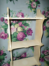 Vintage Carved Wood Wall Shelf 3 Tier Display Old Shabby Chippy Paint