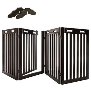 Arf Pets Free Standing Wood Dog Gate with Walk Through Door, Expands Up t... New