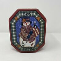 Merry Christmas Snowman Tin Octagon Shaped Green Plaid Gold Stars