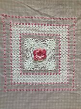 Pink Gingham Fabric SHABBY CHIC Irish Crochet & Embroidery for Pillow/Quilt