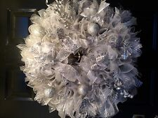 Christmas Wreath Silver Christmas Balls and Accents Ribbons