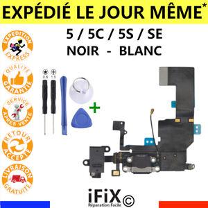 NAPPE CONNECTEUR DE CHARGE IPHONE 5 / 5C / 5S / SE DOCK JACK MICRO NOIR + OUTILS