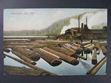 Washington Saw Mill Puget Sound View Antique Postcard c1910