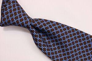 BROOKS BROTHERS Elegant Italian Silk Tie Brown Blue Knot Print 3.4 x 59