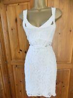 JANE NORMAN White Lace Dress Size 12 Wiggle Pencil Bodycon Wedding Party VTG 00s