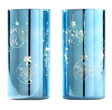 """Set of 2 8"""" Etched Mercury Glass Pillars w/ Microlights by Valerie ICY BLUE"""