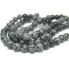 """Snowflake Obsidian 8mm Round Large 2.5mm Hole Beads 8"""" Strand Wrap Wire DIY"""