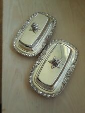 Pair Of F.B.Rogers SIlver Co.Covered Butter Dishes, Ornate-Silver On Copper
