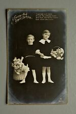 R&L Postcard: Happy Birthday, Monotone Black & White Children Flower baskets