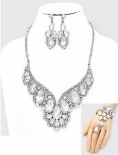 SP Clear Rhinestone Crystal Teardrop Necklace Earring Slave Bracelet Set (3pc)