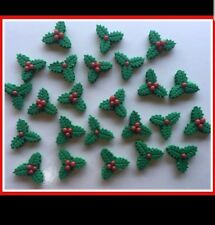 24 x CHRISTMAS Edible Holly Leaves with Sugar Red Berries cake cupcake toppers