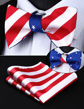 BE05BS Red White Blue Stripe Double Side Bowtie Men Silk Self Bow Tie hanky set