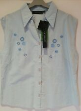 NWT Lauren Taylor women Ladies Button Up Sleeveless Blue Floral Collared Tops