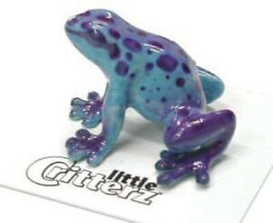 """Little Critterz Miniature Porcelain Animal Blue Dart Frog """"Sapphire"""" LC302"""