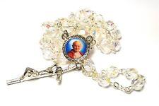 Saint Pope John Paul II crystal glass rosary 3rd class RELIC JP2 KAROL WOJTYLA