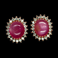 TOP RUBY EARRINGS : Natürliche Rosa Rot Rubin Ohrringe  Sterlingsilber E275