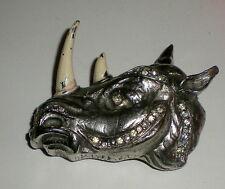 Vtg Hattie Carnegie Rhino / Rhinoceros Clear Rhinestone Brooch / Pin - Silver