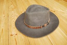 Brown Country Wool Felt Water Repellent Crushable Fedora Hat XL 61 7 1/2