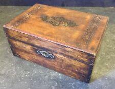 Mesa De Madera Antiguo Caja Caja de costura de trabajo de joyas