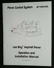 Topcon Paver Control System Lee Boy Asphalt Paver Operationamp Installation Manual