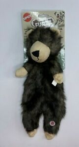 Furzz 13in Plush Dog Toy With Squeaker Realistic Fur, Stuffing Free Body Bear