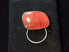 VINTAGE STERLING SILVER AGATE PIN