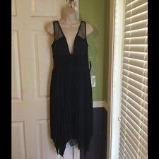 NWT Dina Bar-el Black Dress with plunging neckline