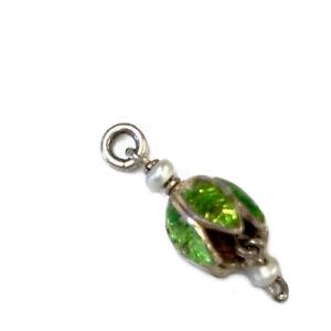 Antique silver enamel pearl small Flower Fuchsia ? Drop Charm GIFT BOXED