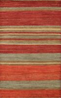 Striped Modern Gabbeh Kashkoli Oriental Area Rug Hand-knotted Home Decor 4'x6'