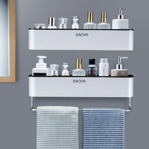 Bathroom Shelf Shower Caddy Organizer Wall Mount Shampoo Rack With Towel Bar