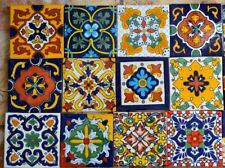 """12 Mixed Tiles- Mexican Talavera tiles hand-painted 4 """"X 4"""""""