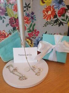 Tiffany & Co. Silver Multi Heart Lariat Necklace set Rare, UK ASSAY Hallmarked