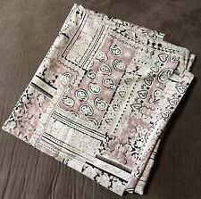 """Silky Synthetic? Fabric Paisley Floral Hearts Beige Mauve? Black 60"""" x 113"""""""