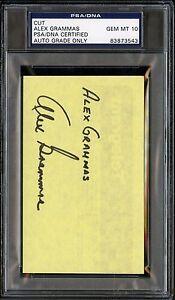 Alex Grammas Jumbo 3x5 Cut PSA/DNA 10 GEM MINT Certified Signed AUTO
