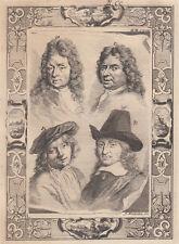 A.Houbraken (1660-1719)  Jan Asselyn, Heyman Dullaart, Jan van Pée, Melch. de Ho