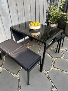 Outdoor Dining table & 2 Bench Seats. 112x70x73.5cm. EUC. P/up Sth Melbourne.
