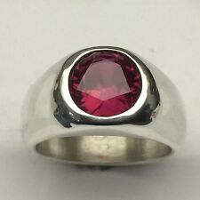 MJG STERLING SILVER MEN'S RING.10MM FACETED LAB RUBY. SIZE 9